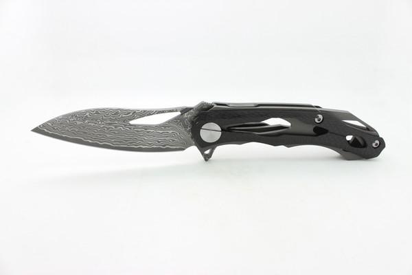 Free Shipping New Custom Clone Alexey Konygin CKF Decepticon2 Folding Camping Knives Damascus Blade Carbon Fibre Handle Tactical Tools EDC