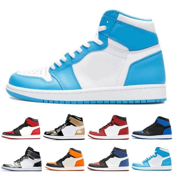 OG 1 Top 3 Men Basketball Shoes Wheat Gold Bred Toe Chicago Banned Royal Blue Fragment UNC HOMAGE TO HOME New Love City Of Flight US 7-13