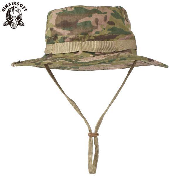 SINAIRSOFT Tactique Airsoft Sniper Camouflage Boonie Chapeaux Chapeau Népalais Mens Américain Seau Large Brin Sun Chapeau Chapeaux de Cowboy pour Randonnée Pêche