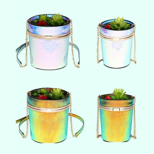 Fun shinning flower pot handbag succulents potted plant shaped women's shoulder bag laser silver pearl color changing bolsas
