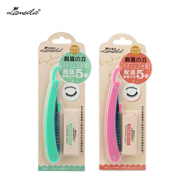 LAMEILA new folding eyebrow Trimmer shaving knife shaving hair cut 5 pcs knife blade repair eyebrow beauty makeup tools