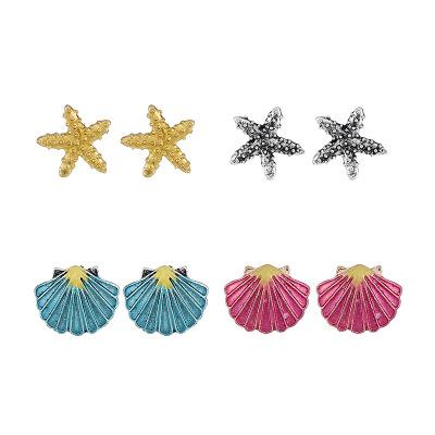 Wholesale Starfish Ear Stud Sets Women Exquisite Cute Shell Ear Stud Earring Simple Four Ear Ring Sets Jewelry Party Festival Earring