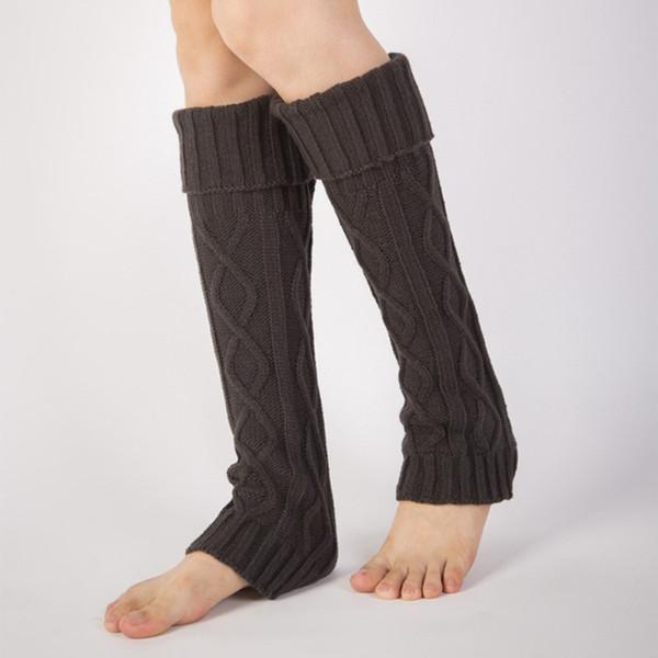 Mujeres Calentadores de invierno de punto de ganchillo con borde de piel puños los primeros de arranque Calcetines de invierno Calcetines Imperm