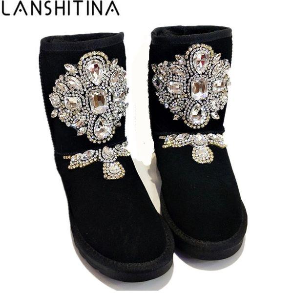 2018 Mujeres Invierno Rhinestones Botas Calientes Botas de Nieve de Cuero Genuino Zapatos de Cuero de Cristal Feminina Australia Botas de Tobillo de Ante