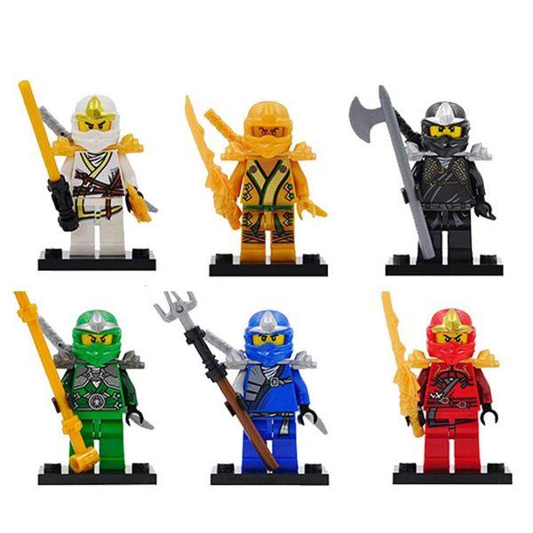 Cole Jay Kai Zane Lloyd Gold Red Green Ninja Figure with Armor and Katana Sword Mini Building Block Toy