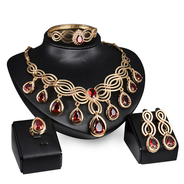 Sistemas de la joyería nupcial de la boda de moda Verde Rojo Cristal Antiguo Juego de la joyería del color del bronce Pendientes Pulsera Anillos 1 CONJUNTO