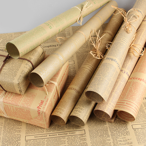 Gift Wrapping Paper Roll Vintage Newspaper Double Sided Wrap Decor Art Kraft For Christmas Party Creative Material