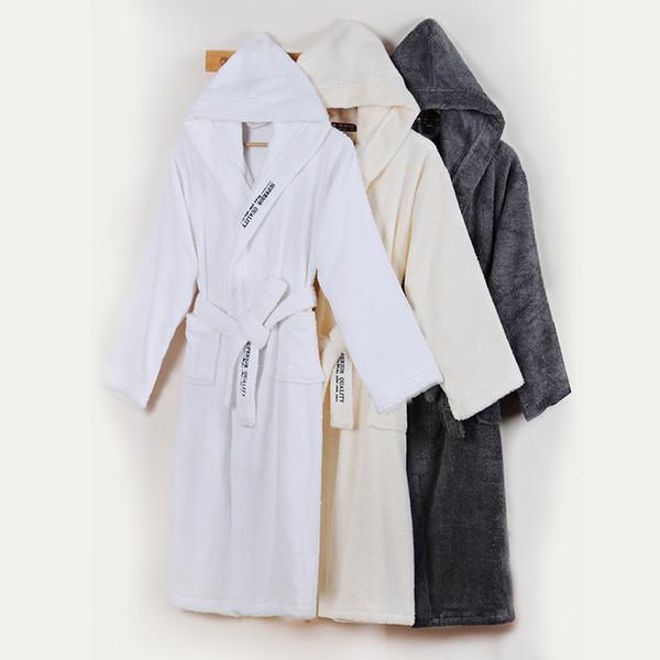 Men's Bathrobe Winter Cotton Hooded Women Robe Male Warm Long Bathrobes Comfort Gray Bath Robe Kimono Robe Thick Warm Soft