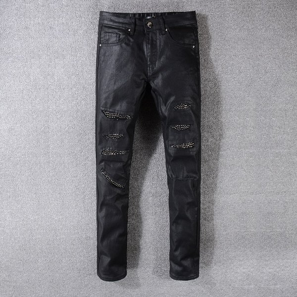 2018 New France Style #546# Mens Distressed Embellished Ribbed Stretch Moto Pants Biker Jeans Slim Trousers Size 28-42