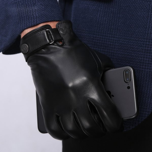 NEW Genuine Leather Gloves Male Winter Keep Warm Plush Lined Sheepskin Gloves Fashion Black Wrist Buckle Driving Mittens NM182