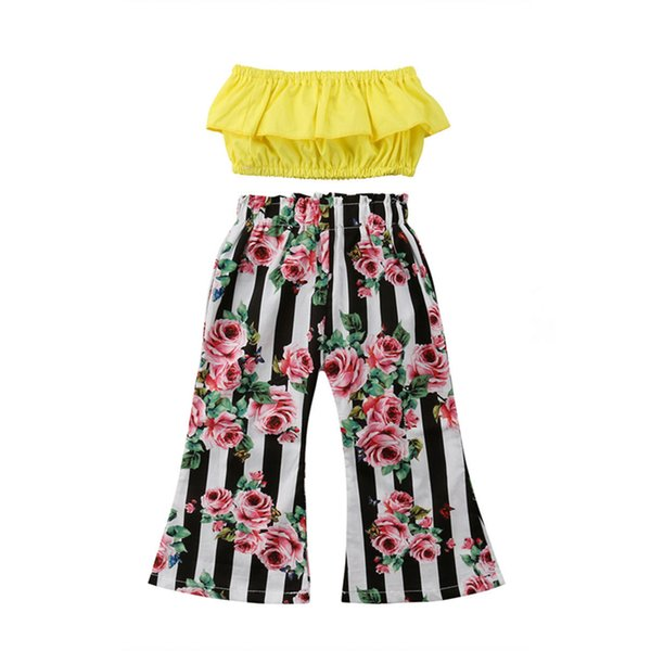 Fashion Girl Clothing New Toddler Baby Girl Sleeveless Crop Tops Floral Striped Wide Leg Pants 2PCS Outfits Summer Clothes Set