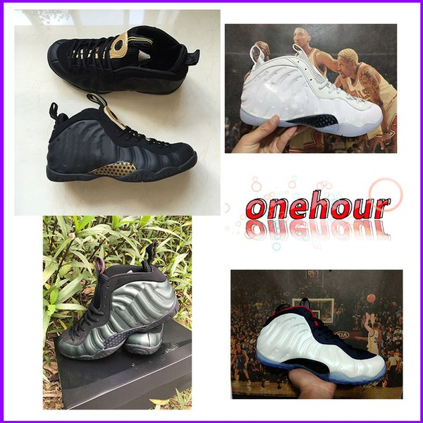 Foam One PRM Olympic All Star Basketball Shoes For Men Penny Haradway Pro Sequoia Black Metallic Gold Mens Brand Cheap Sports Trainer