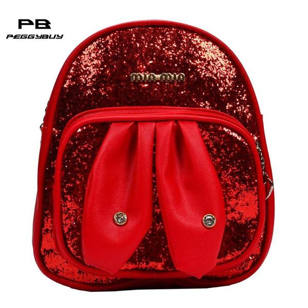 Cute Rabbit Ears Kids School Backpack PU Leather Soft Bag School Zipper Pupil Cartoon Satchel Zaino impermeabile per ragazze dei ragazzi