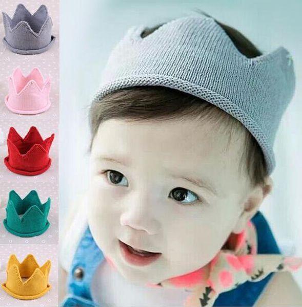 Baby Knit Crown Tiara Kinder Häkeln Stirnband Mütze Hut Geburtstagsparty Fotografie Requisiten Beanie Bonnet BY0218