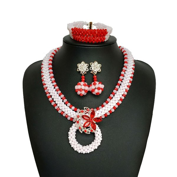 Handmade red White Women African Beads Jewelry Set Popular Nigerian Wedding Beads African Crystal Beaded Necklace SH312-12