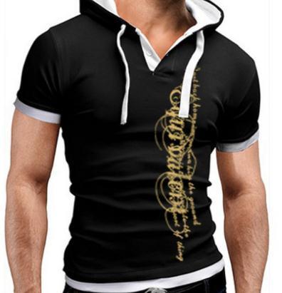 Men T-Shirt Summer 2018 Brand Short Sleeve Hooded T Shirt Slim Tops Fashion Mens Tee Shirt T Shirts Plus Size 4XL QAW