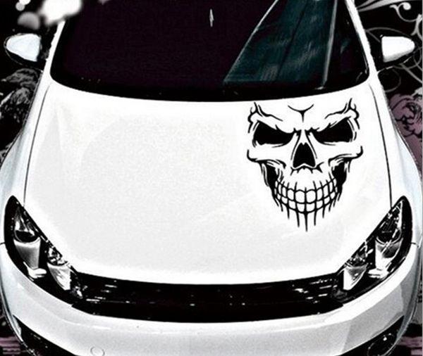 30*27cm Black/White Skull Hood Decal Vinyl ilms FLarge Graphic Sticker Car Truck Window Body Fit For Universal Car VW BMW Audi Honda Civic
