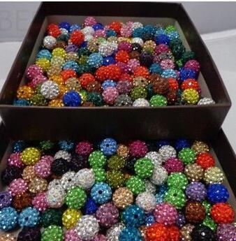 free shipping 1000pcs/lot 10mm Mixed Color Micro Pave CZ Disco Ball Crystal Shamballa Bead Bracelet Necklace Beads