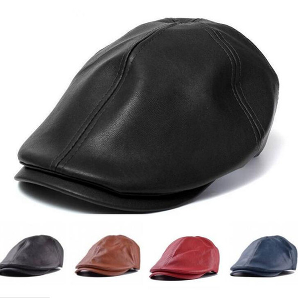 Vintage classic artificial leather newsboy hats for women men fashion brief men designer caps new snapback caps free shipping