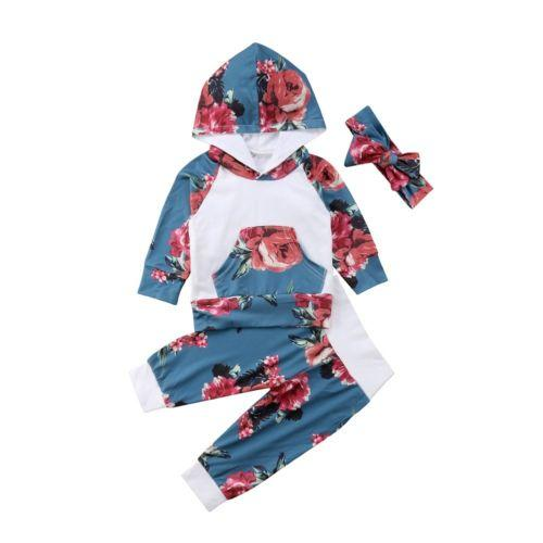 Baby Hooded Long Sleeve Tops T-shirt Pants Long Trouser Casual Autumn Cotton Clothes Set 2pcs Newborn Toddler Baby Girl 0-24M
