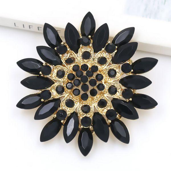 Flower Rhinestone Crystal Brooch 7cm Luxury Brand Designer Suit Lapel Pin for Women Girls Jewelry Accessories Gift for Love Girlfriend