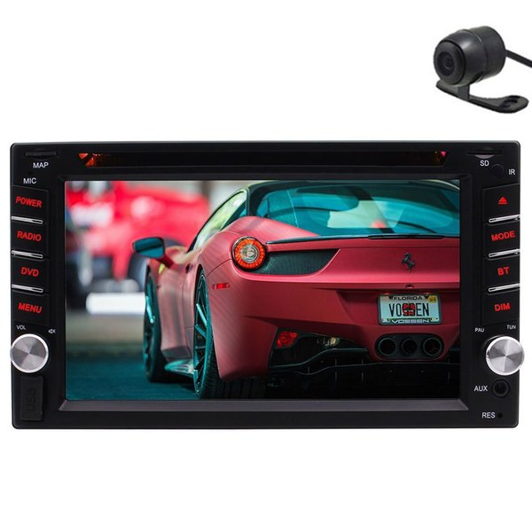 Rear Camera+Double Din Car Gps Navigation In Dash Headunit Car dvd Stereo Radio DVD CD Video Player Bluetooth SD AUX SWC Remote Control
