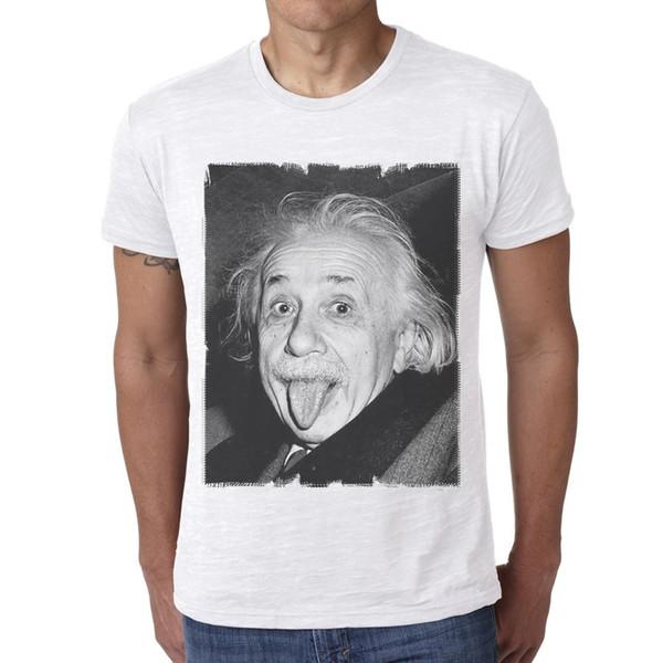 2018 новые мужские футболки мода Альберт Эйнштейн: Herren футболка О-образным вырезом мода печатных мужская хлопок футболка шею мужчины