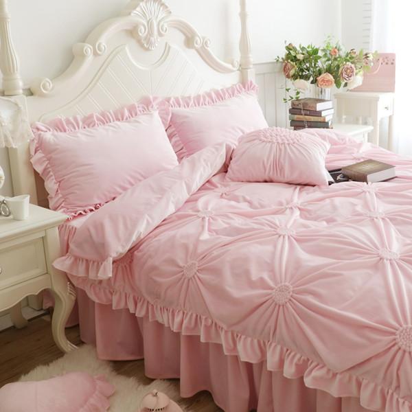 Juego de cama de invierno grueso plisado conjunto de cama de matrimonio completo king size cover set 4 / 6pcs funda de almohada funda nórdica de color rosa azul