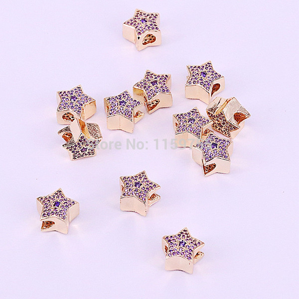 15Pcs Gold Color Micro Pave Cubic Zirconia five star big hole beads charms fit European bracelet DIY