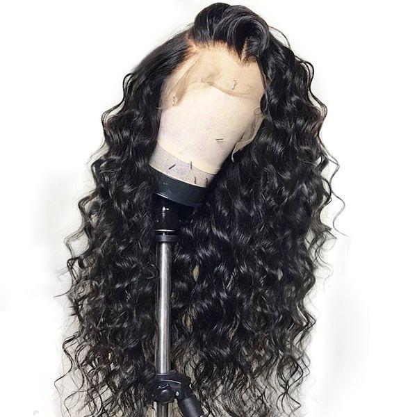 Jerry rizado peluca peruano frente del cordón pelucas de cabello humano con el pelo del bebé ola de agua encaje frente peluca remy pelo pre pulsado nudos blanqueados