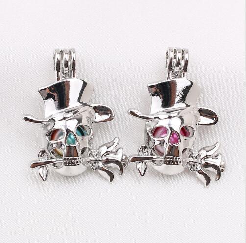 Halloween Schädel Rose Blume Perle Käfig Anhänger ätherisches Öl Diffusor Bead Cage Lockets Halskette Charms für Oyster Pearl
