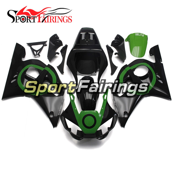 Black With Green Circles Motorcycles Fairings For Yamaha YZF600 R6 YZF-R6 1998 1999 2001 2002 Injection ABS Plastic Motorcycle Fairing Kit