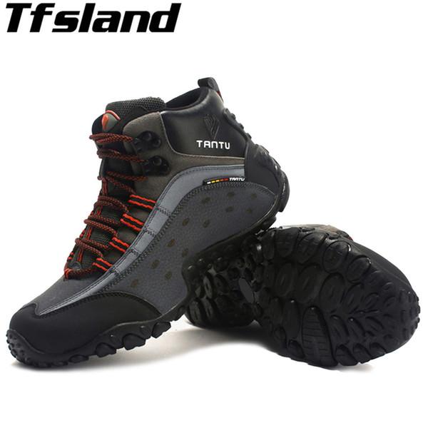 Autumn Winter Men Hiking Shoes Nubuck Climbing Shoes Waterproof Outdoor Trekking Genuine Leather Mountain Sneakers