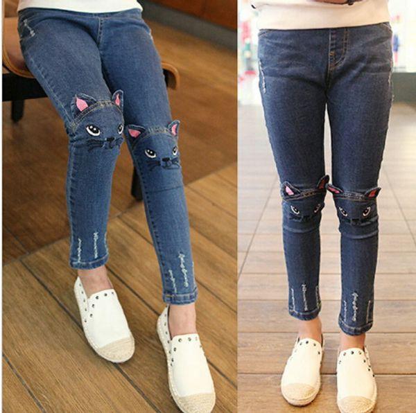 Nuovi Pantaloni jeans bambina bambina Primavera autunno simpatico gatto ricamo jeans pantaloni bambini bambini Leggings caldi per bambine 2-8 anni