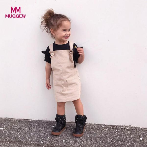 MUQGEW summer dress Toddler Kids Baby Girls Outfit Clothes sin mangas cuello cuadrado desfile partido hasta la rodilla vestido de la princesa