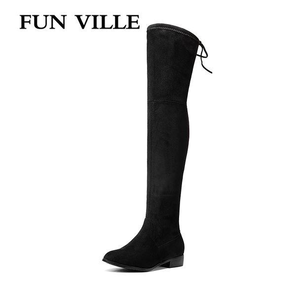 VILLE FUN 2018 Chegada Nova das mulheres sobre o joelho botas de Inverno Botas Quentes de Alta Qualidade Camurça Alta Sapatos Femininos Bota Flats
