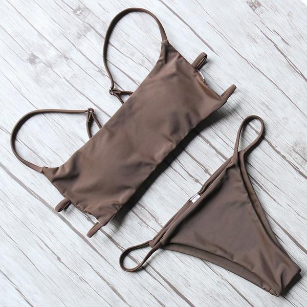 Bikinis brasileños sexy traje de baño de las mujeres 2018 Push Up correas ajustables traje de baño a rayas vendaje Halter Beach Wear Set