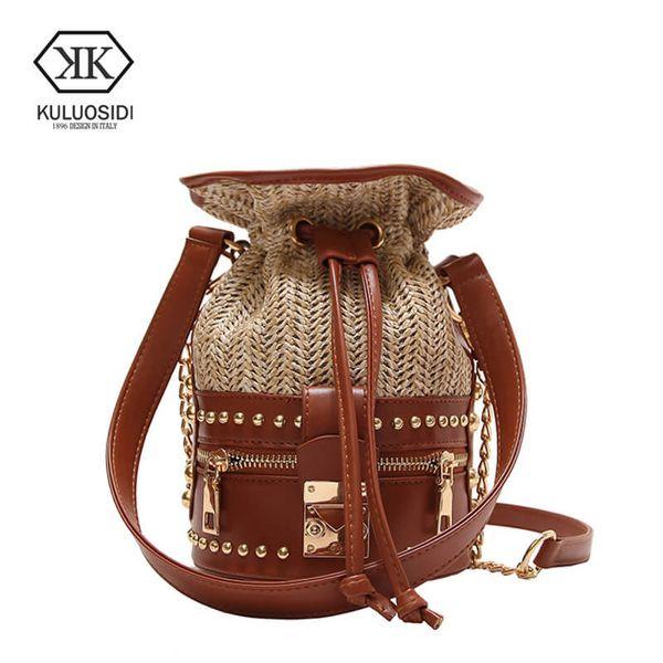KULUOSIDI Luxury Small Bucket Bag Women Crossbody Bags Fashion Rivet Straw Handbag Summer 2018 Ladies Handbags Chains Beach Bag