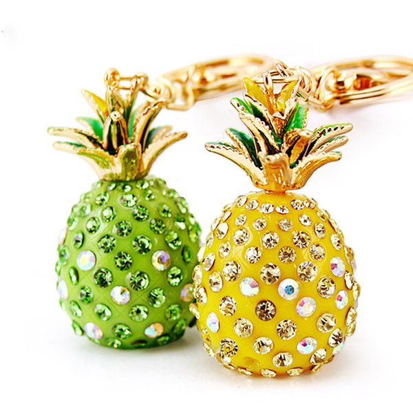 KK Tropical Fruit Pineapple Crystal Bag Keychain Bag Pendant Keychain Car High Quality Gift Keychain Clip Exquisite Gift Accessories Wholesa
