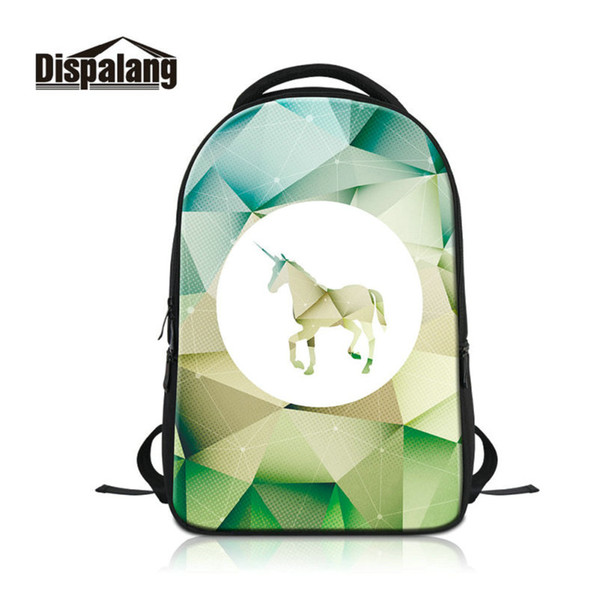 Women Men Large Laptop Backpack Diamond Unicorn Pattern School Bags For Teenagers Geometric Print Mochilas Girls Boys Bookbags Rucksack Pack