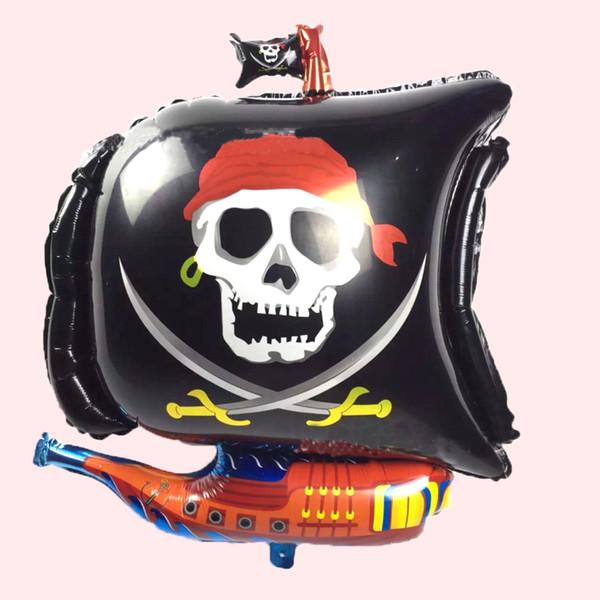 Cheap cartoon irregular skull boat foil balloons hot selling Halloween red boat balloon Cartoon party birthday foil ballons
