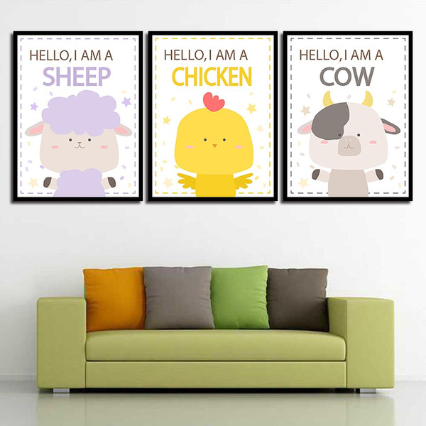 Nordic Posters Pictures For Office Living Room Cartoon Sheep Chicken Cow Modern Canvas HD Paintings Wall Art Print Home Decor