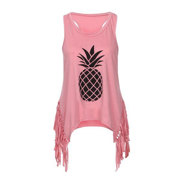Women Vest Tank Top Summer Pineapple Sleeveless Broadcloth shirt Tassel tnak Tops Family Matching Clothes O-Neck Cotton blend