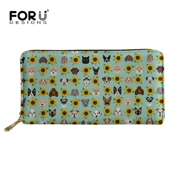 FORUDESIGNS Women Wallet Long Dogs and Cats Heads Sunflower Florals Pet Pattern Big Capacity Purse Cell Phone Bag Pocket Clutch