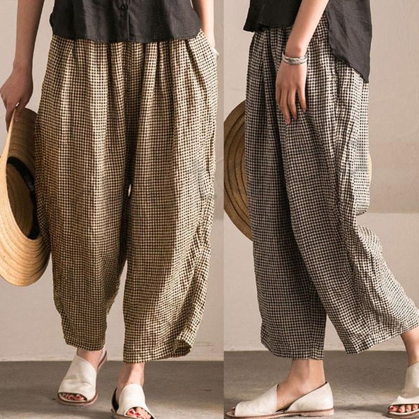 Women Pants High Waist Wide Leg Pants Casual Loose Long Palazzo Plus Size Trousers Summer