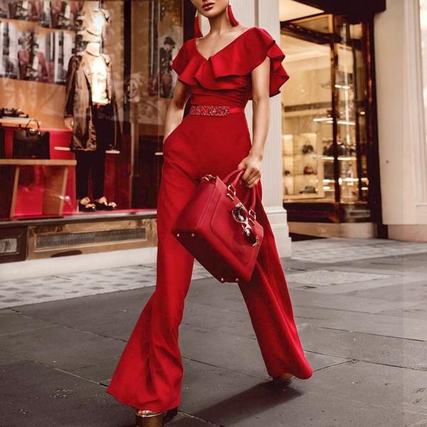 Eleganter Rüschen-Sommer-Overall-Frauen-Gurt-sexy weg von der Schulter-Overall-Overall-loses Streetwear-weites Bein keucht Overalls