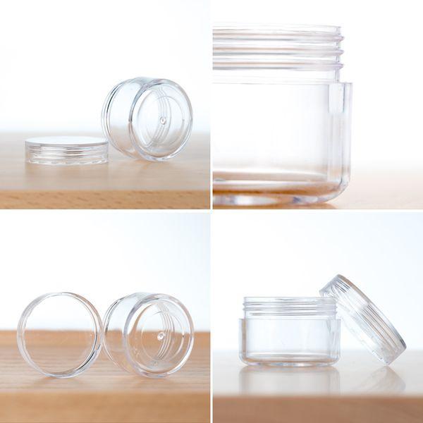 Barattolo di crema di plastica 2g, 3g, 5g vasetto in polvere trasparente, vasetto di crema di colore chiaro, confezione cosmetica per ombretto