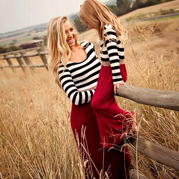 Mother Daughter Dresses Family Look Matching Clothes Long Sleeve Striped Cotton Mom and Daughter Dress Outfit Baby Girl Clothing