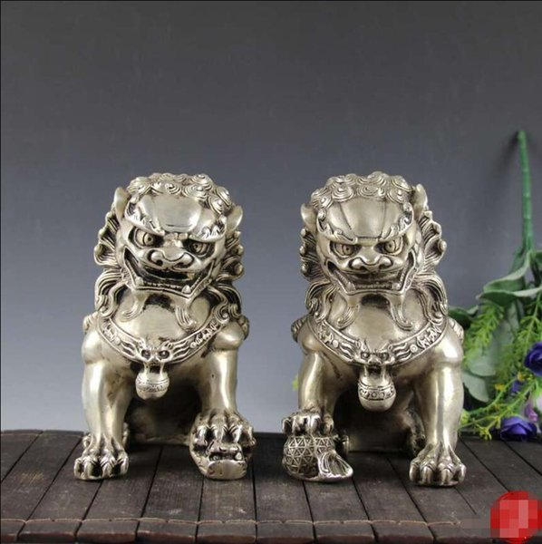 Antique Brass Collection Antique Nickel-Copper Lion Pair Decoration Home Decoration Craft Gift
