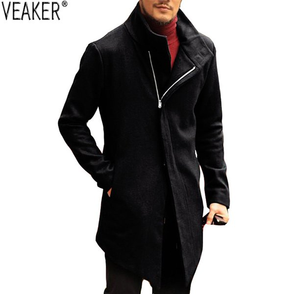 2018 New Men's Wool Blend Jackets Coat Male Autumn Winter Slim Fit Zipper Coat Stand Collar Jackets Solid Color Outerwear S-3XL